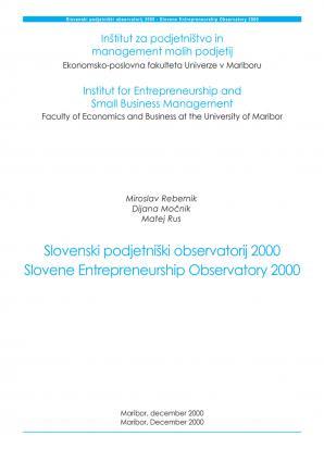 Naslovnica za Slovenski podjetniški observatorij 2000 = Slovene entrepreneurship observatory 2000