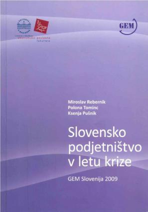 Naslovnica za Slovensko podjetništvo v letu krize: GEM Slovenija 2009
