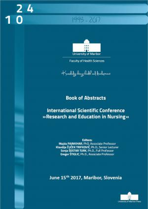 """Naslovnica za Book of abstracts / International Scientific Conference """"Research and Education in Nursing"""", June 15th 2017, Maribor, Slovenia"""