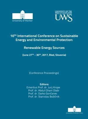 Naslovnica za Renewable energy sources: (conference proceedings) / 10th International Conference on Sustainable Energy and Environmental Protection, (June 27th-30th, 2017, Bled, Slovenia)