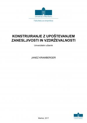 Naslovnica za Konstruiranje z upoštevanjem zanesljivosti in vzdrževalnosti