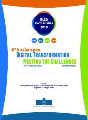 Naslovnica za Digital Transformation:  Meeting the Challenges: conference proceedings / 31st Bled eConference, June 17 - 20, 2018, Bled, Slovenia