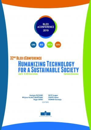 Naslovnica za Conference proceedings / 32nd Bled eConference Humanizing Technology for a Sustainable Society, June 16 - 19, 2019, Bled